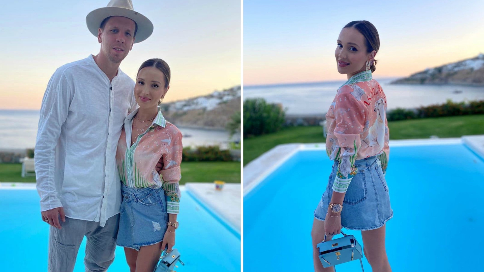 Marina i Wojciech Szczęśni na tle basenu