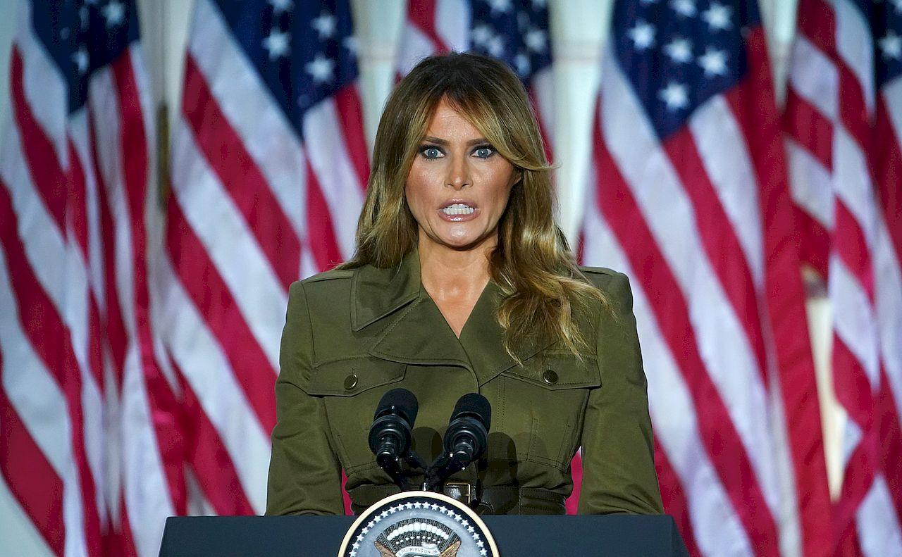 Melania Trump przemawia z Ogrodu Różanego
