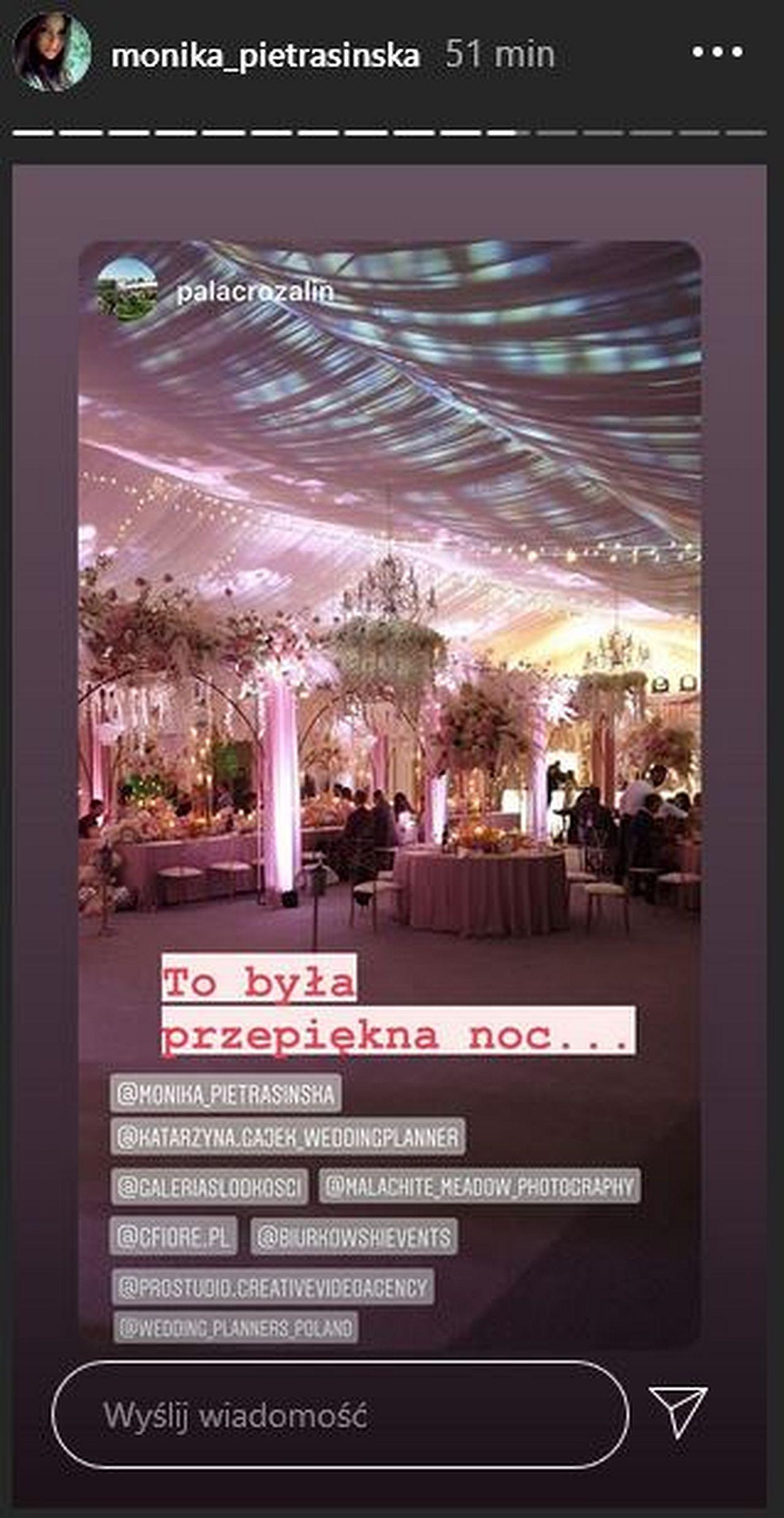 Bajkowy ślub Moniki Pietrasińskiej