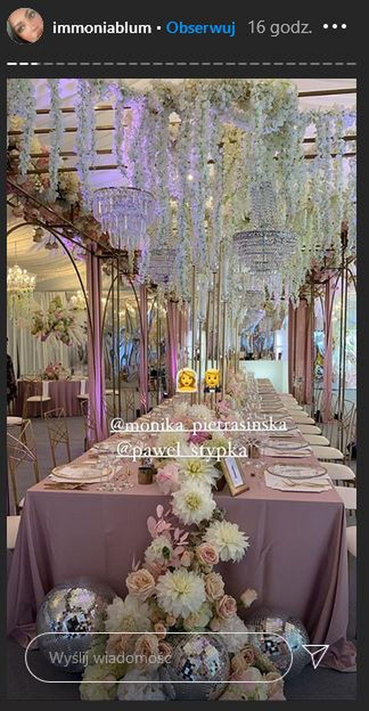 Piękny wystrój sali weselnej