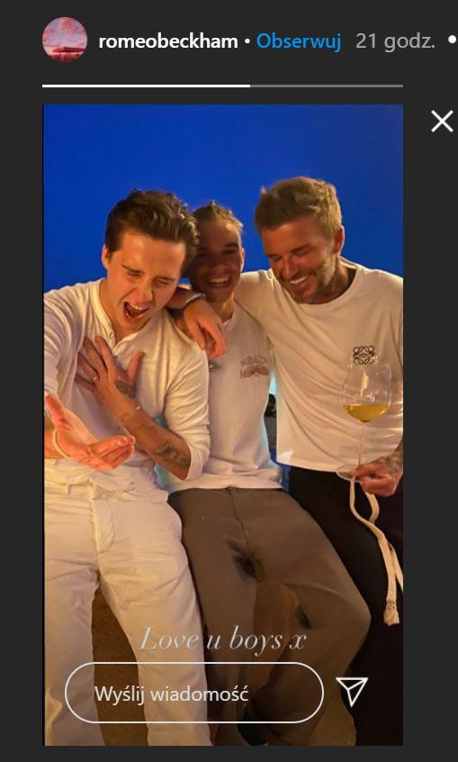 Męski wieczór: David, Romeo i Cruz Beckham, fot. Instagram @romeobeckham