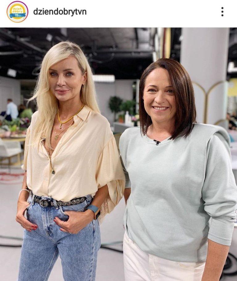 Agnieszka Woźniak-Starak i Ewa Drzyzga w studio DDTVN