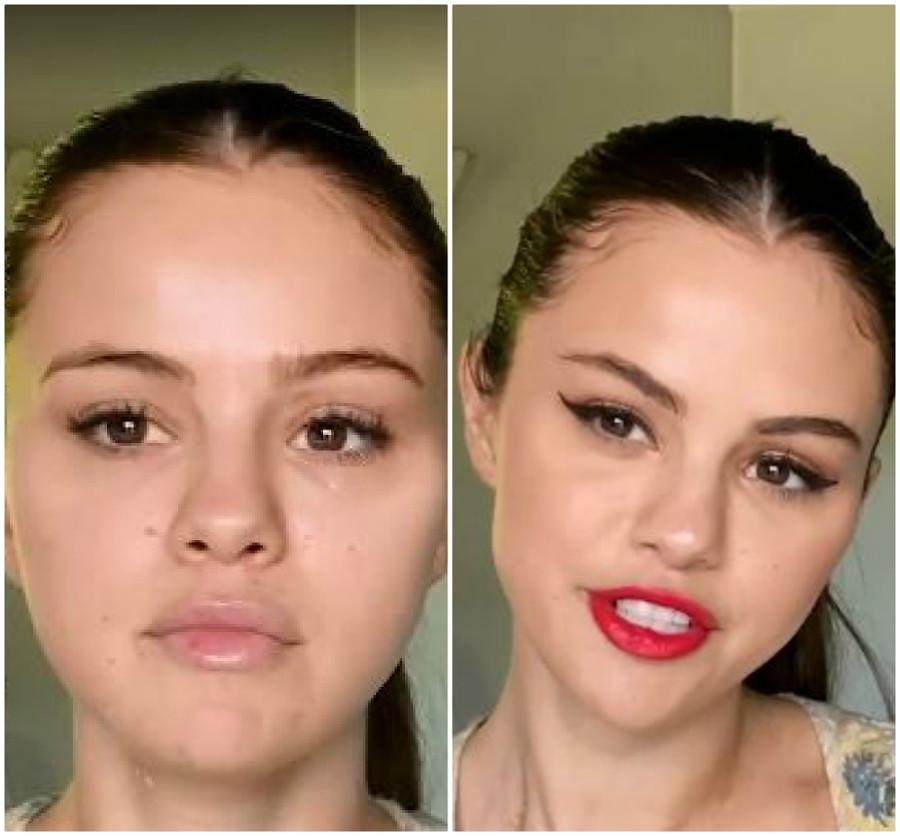 Selena Gomez przed i po makijażu.