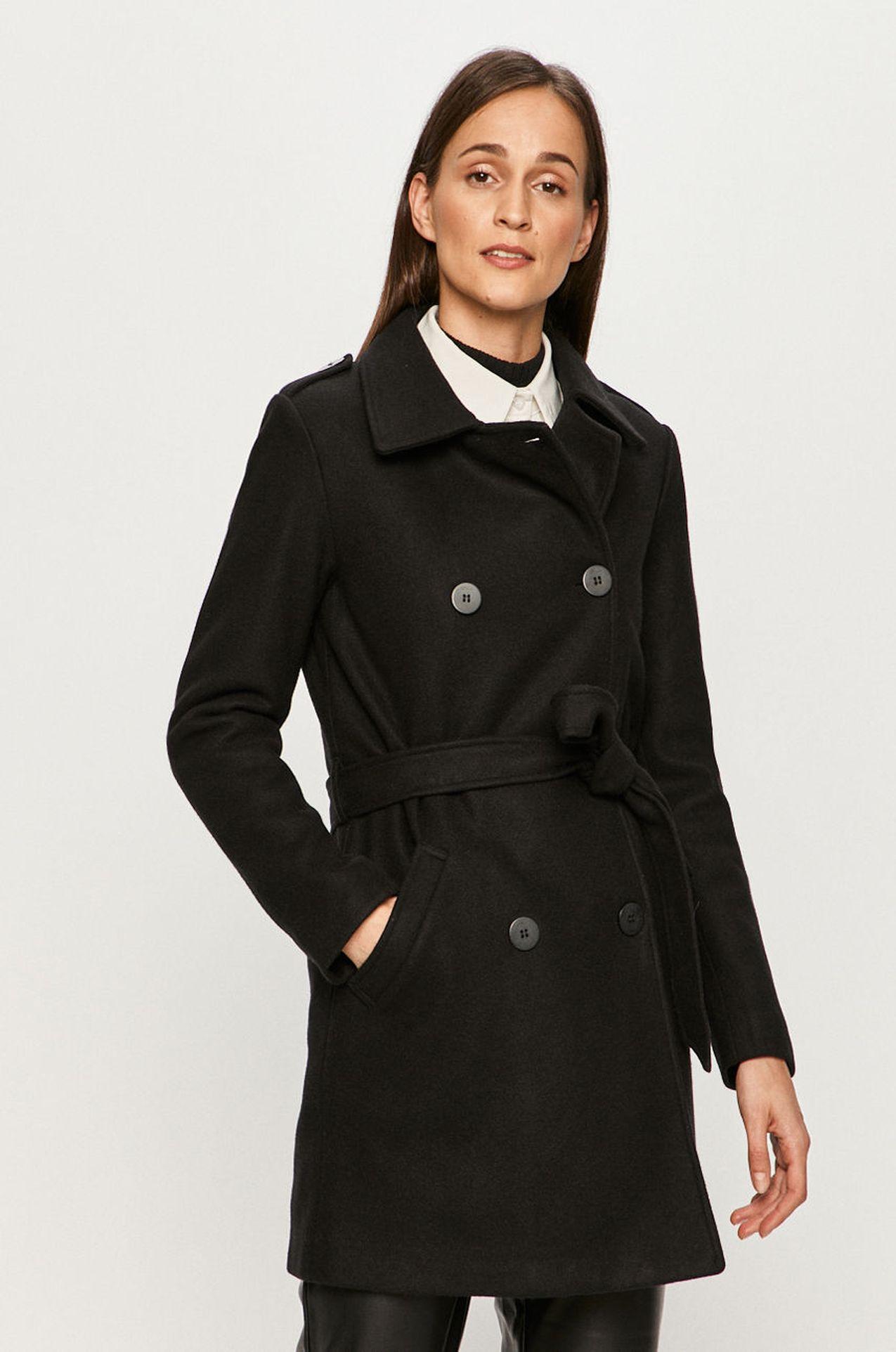Czarny płaszcz z wiązaniem