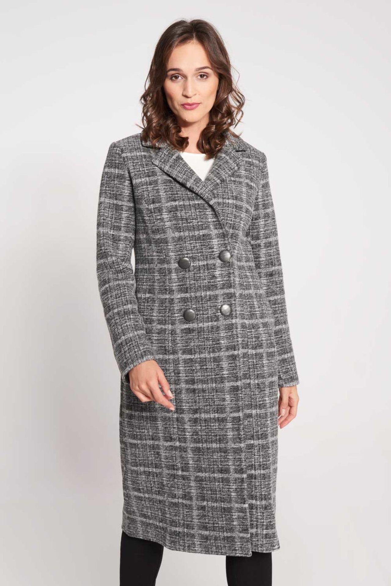 Szary płaszcz w kratę