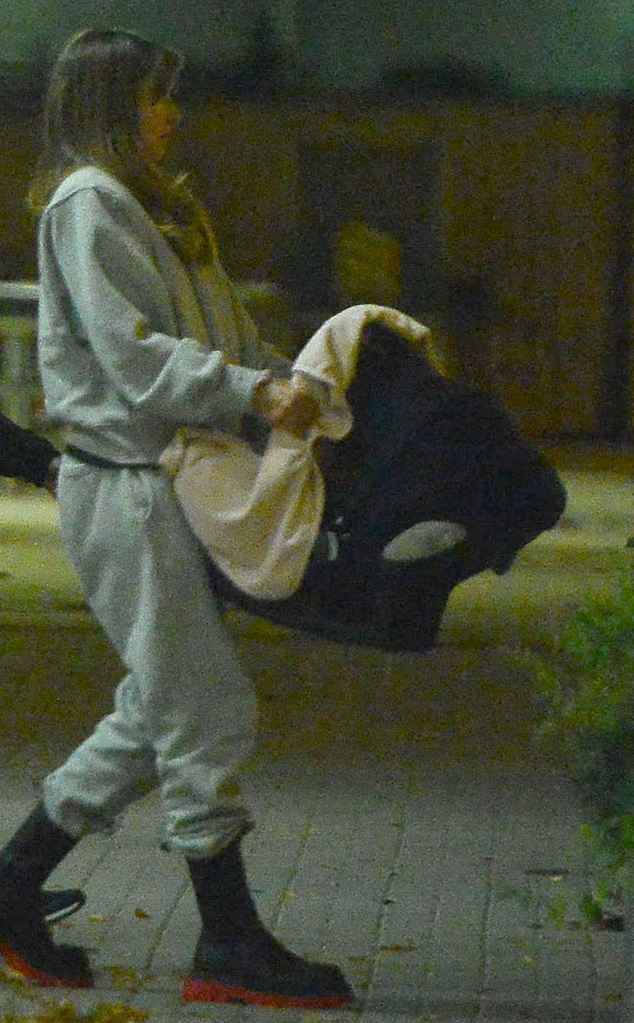 Anna Lewandowska przyłapana przez fotoreporterów z nosidełkiem.