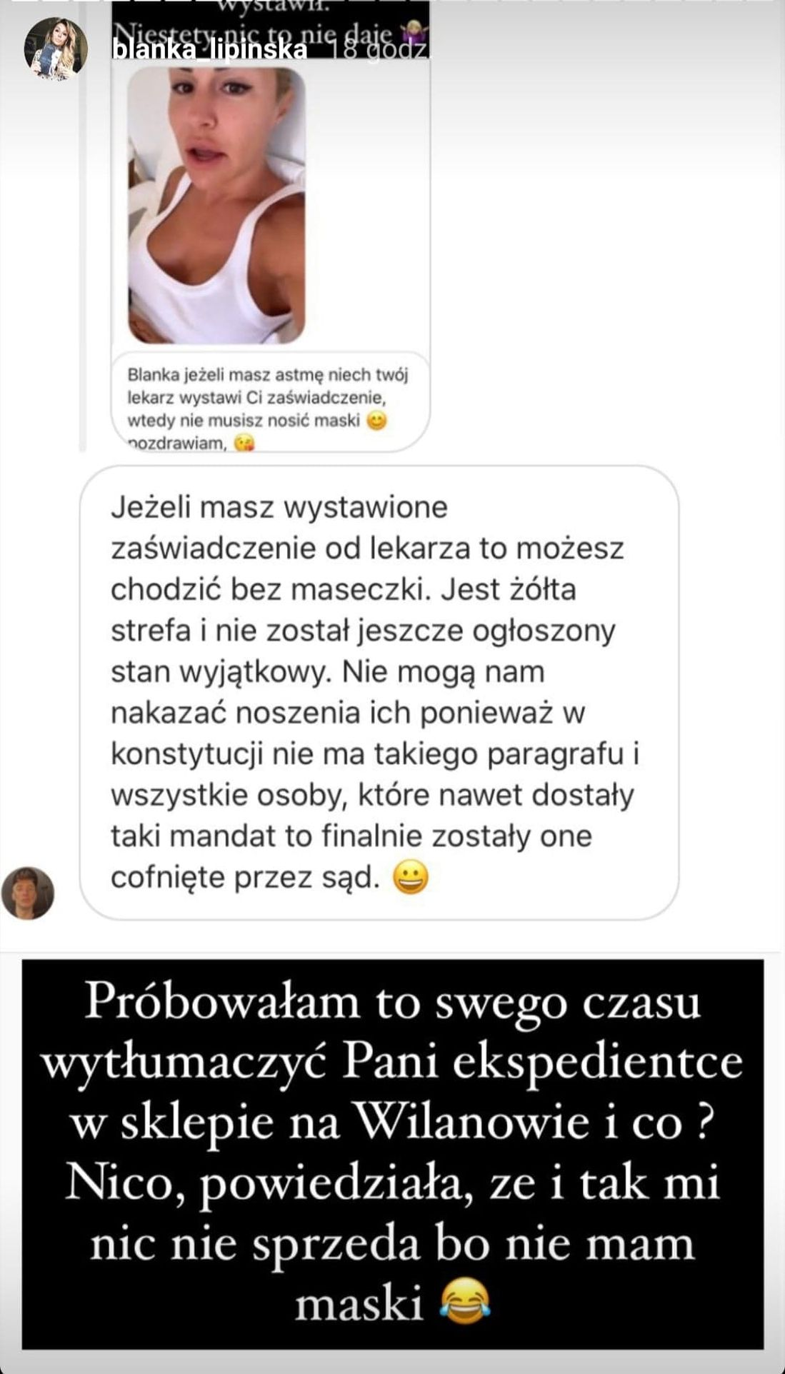 Blanka Lipińska ma astmę