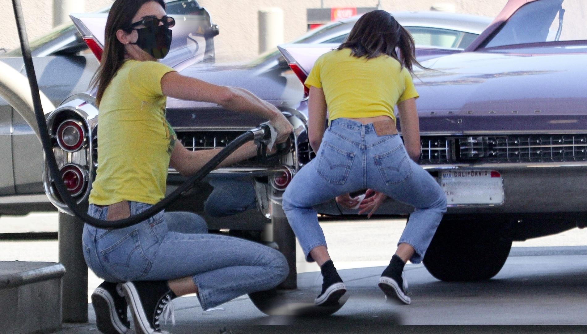 Wypięta Kendall Jenner tankuje samochód. Supermodelka w drodze na lunch