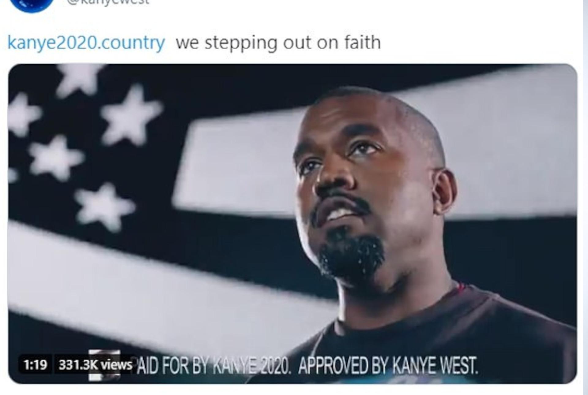 Kanye West prezentuje spot wyborczy, fot. Twitter