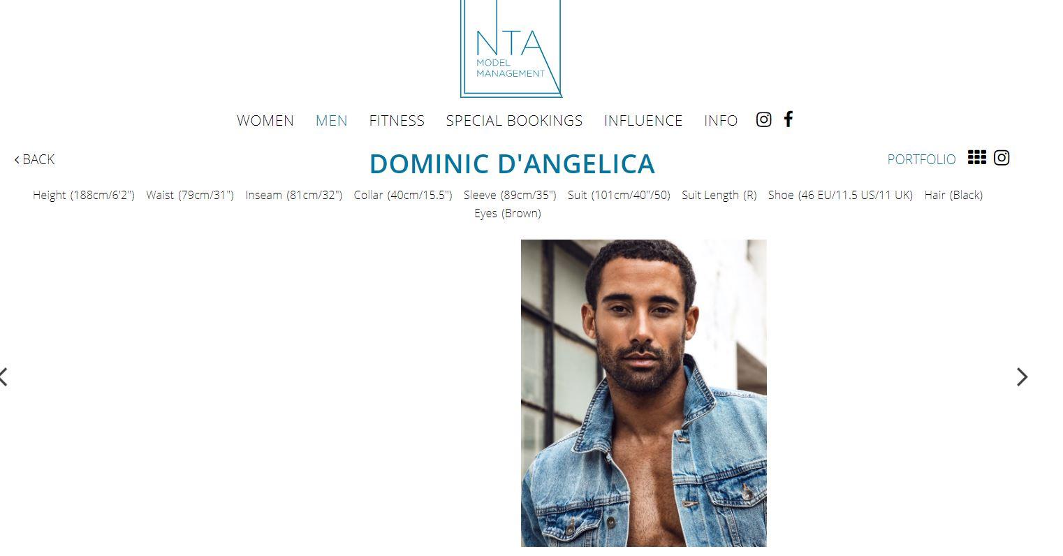 Dominic D'Angelica, fot. screenshot NTA Model Management