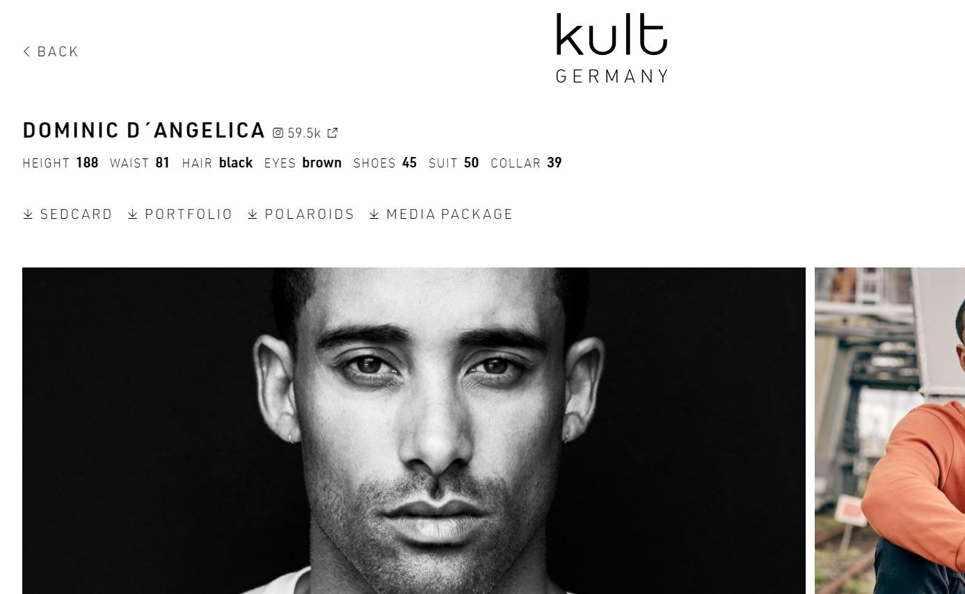 Dominic D'Angelica na stronie agencji Kult. screentshot kultmodels.com
