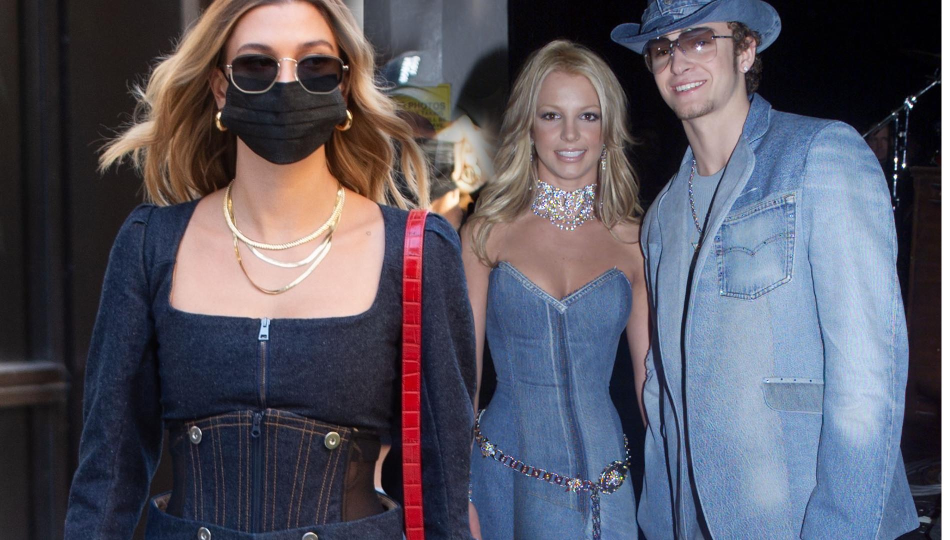 Hailey Bieber jak Britney Spears! Jeansowy total look i gorset to PRZESADA?