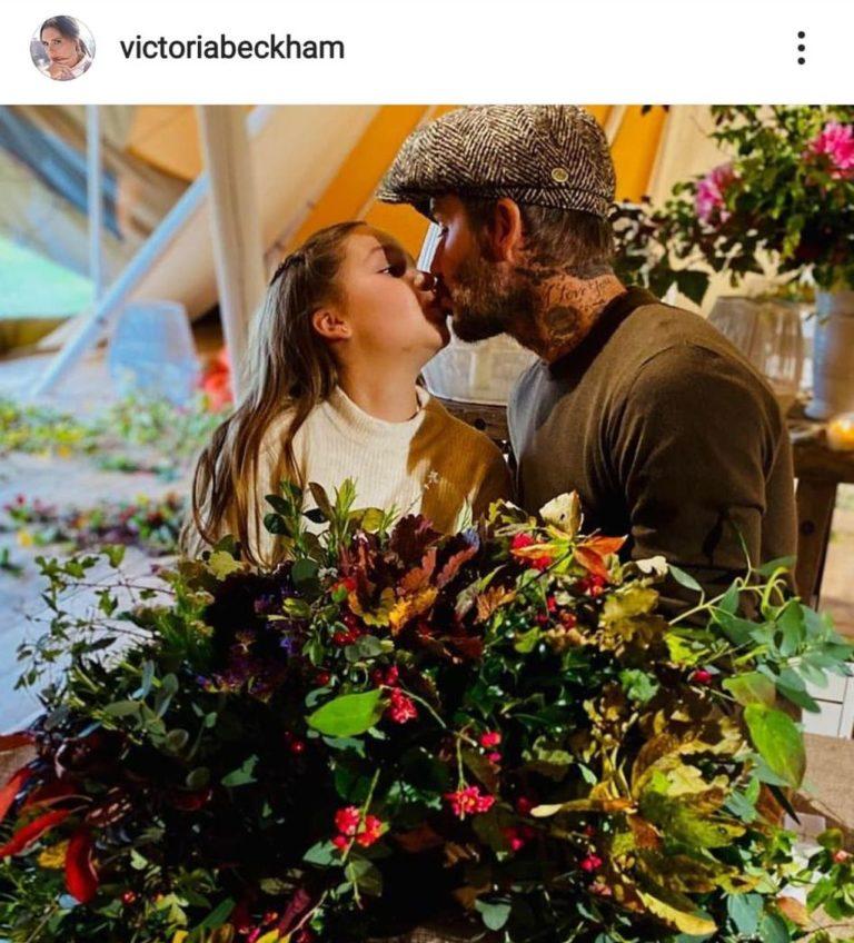 David Beckham całuje córkę w usta
