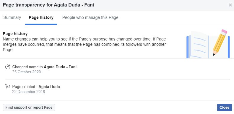Zmiana nazwy Facebooka Agaty Dudy, fot. Facebook
