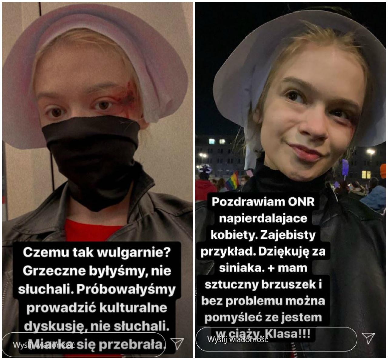 Julia Wróblewska pobita na strajku kobiet.