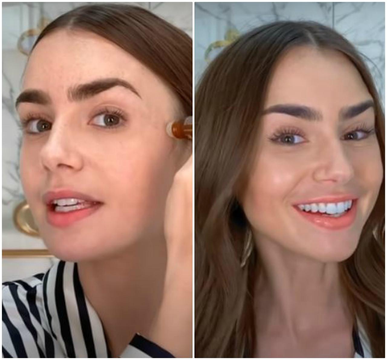 Lily Collins przed i po nałożeniu makijażu.