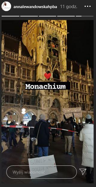Anna Lewandowska na proteście w Monachium