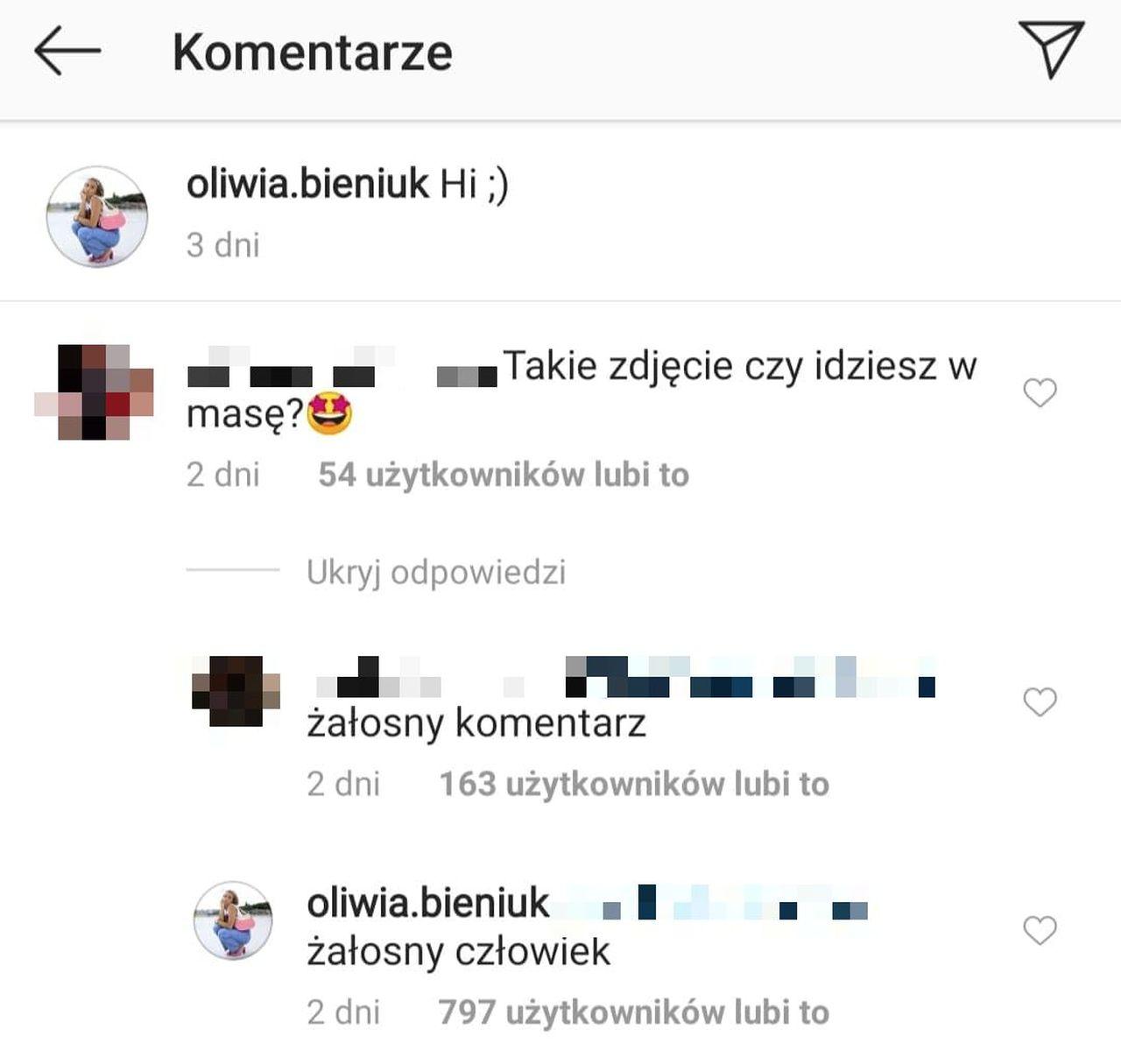 Hejter atakuje Oliwię Bieniuk