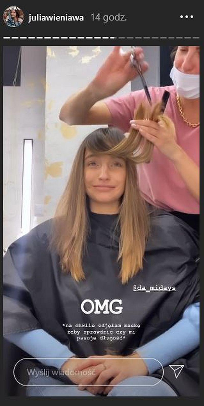 Julia Wieniawa obcina włosy