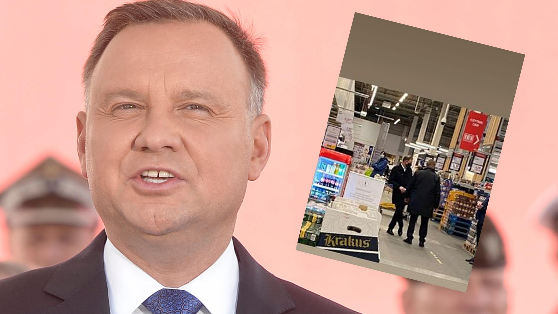 Andrzej Duda przyłapany na zakupach w hipermarkecie. Wszystko nagrała menadżerka gwiazd