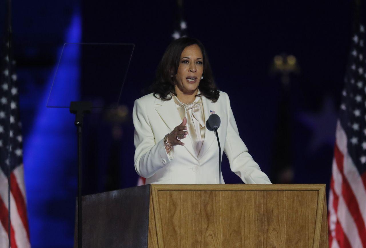 Kamala Harris wygłasza przemówienie