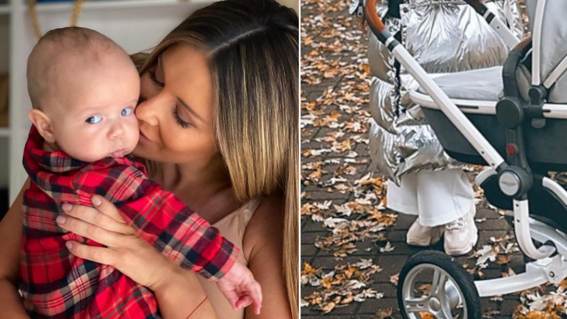 """Małgorzata Rozenek na spacerze z wózkiem za 15 tys. złotych. """"Piękny wózek w cenie mojego auta"""""""