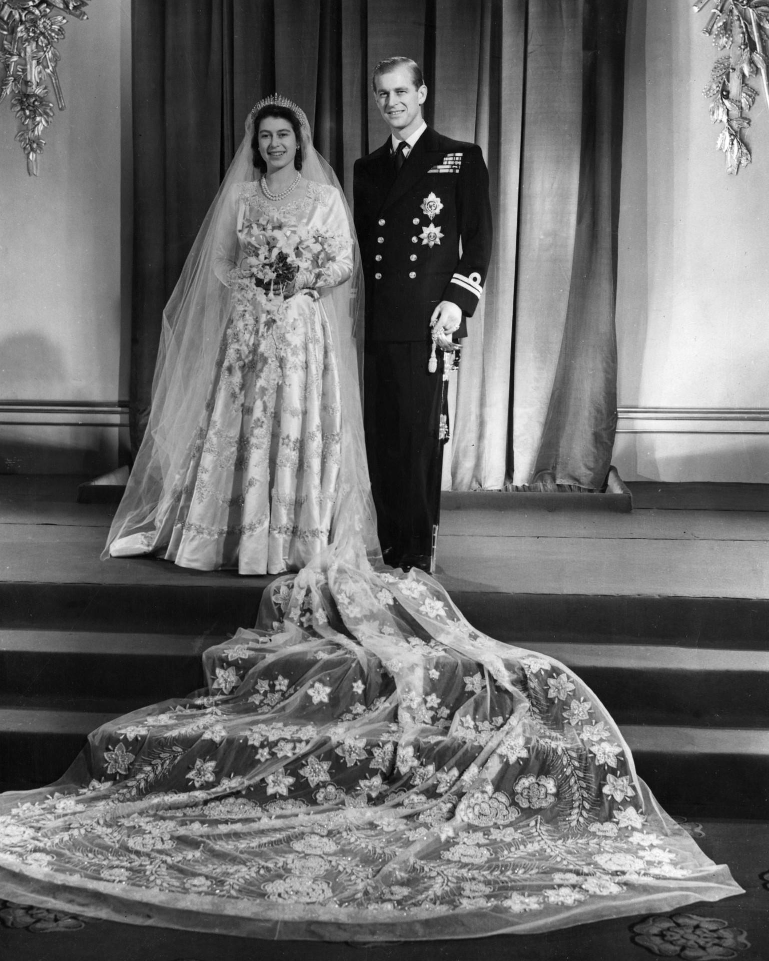 Oficjalny portret ślubny Elżbiety i Filipa