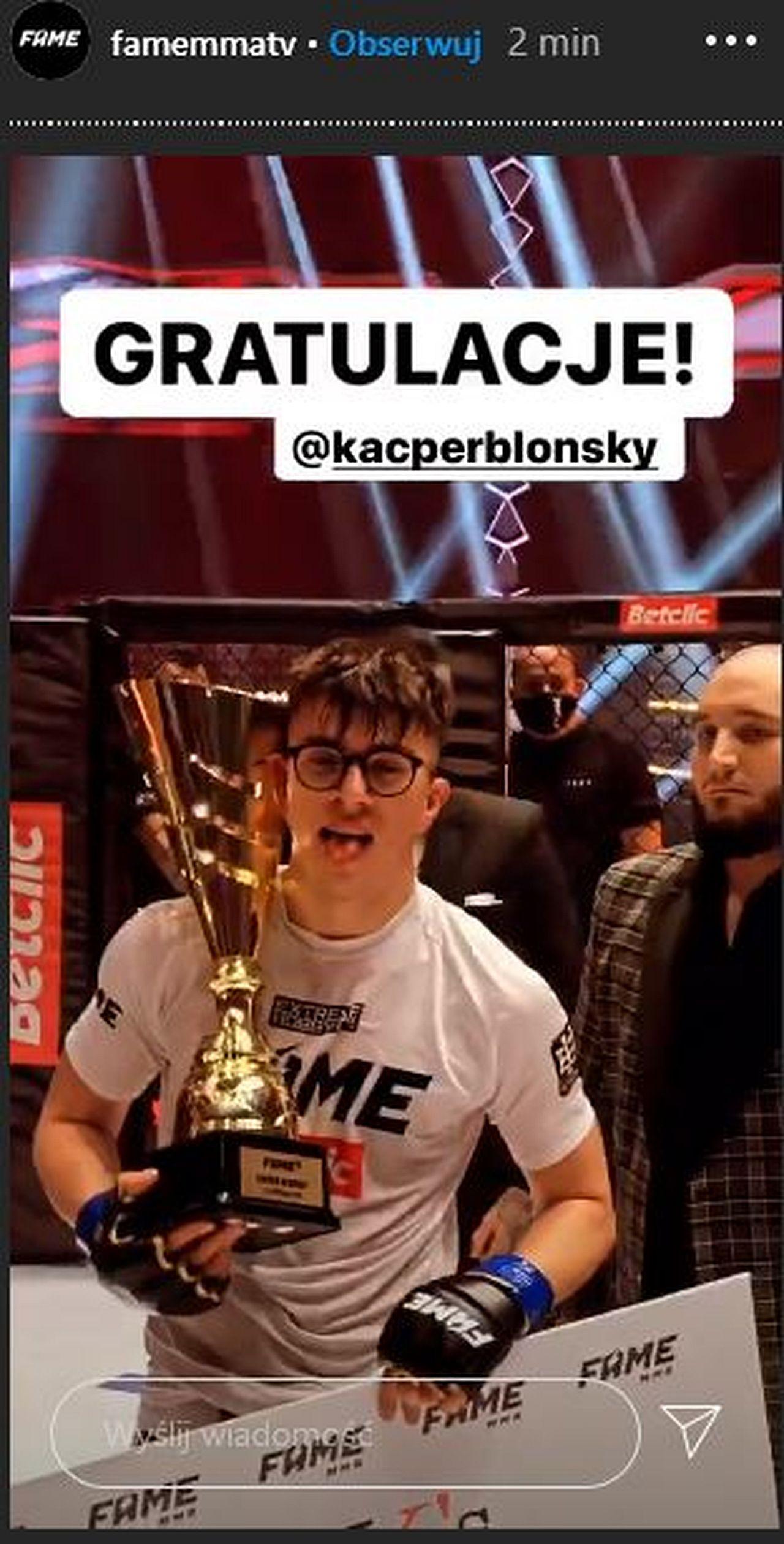 Kacper Blonsky wygrał Fame MMA