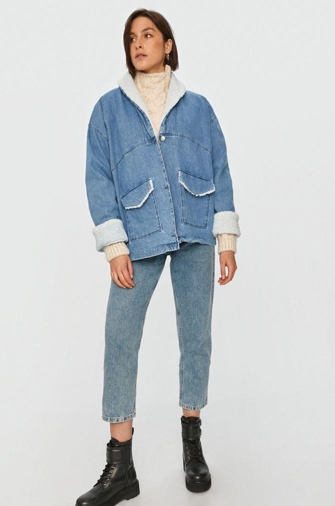 Jeansowa kurtka z kożuszkiem