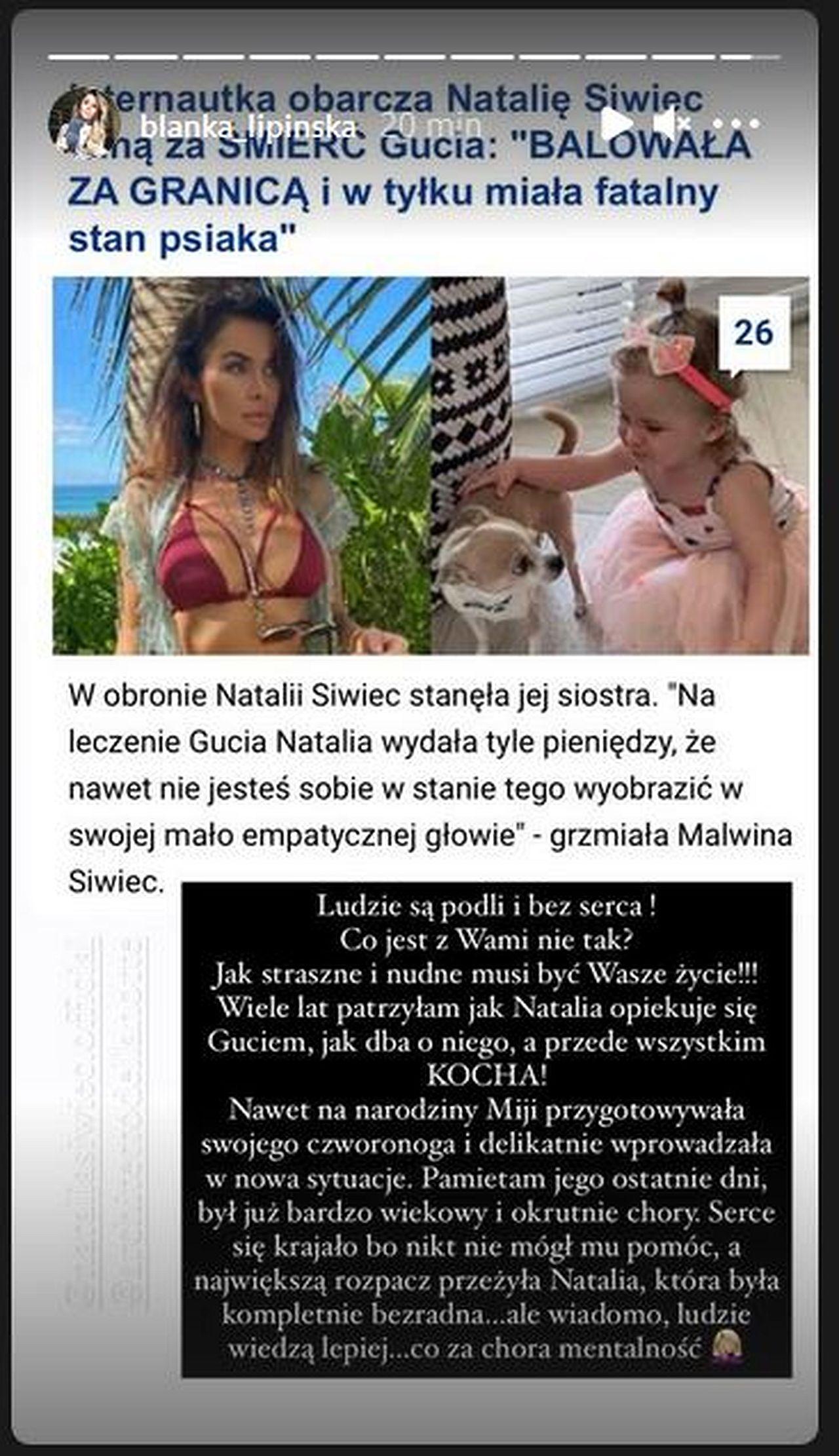 Blanka Lipińska broni Natalii Siwiec