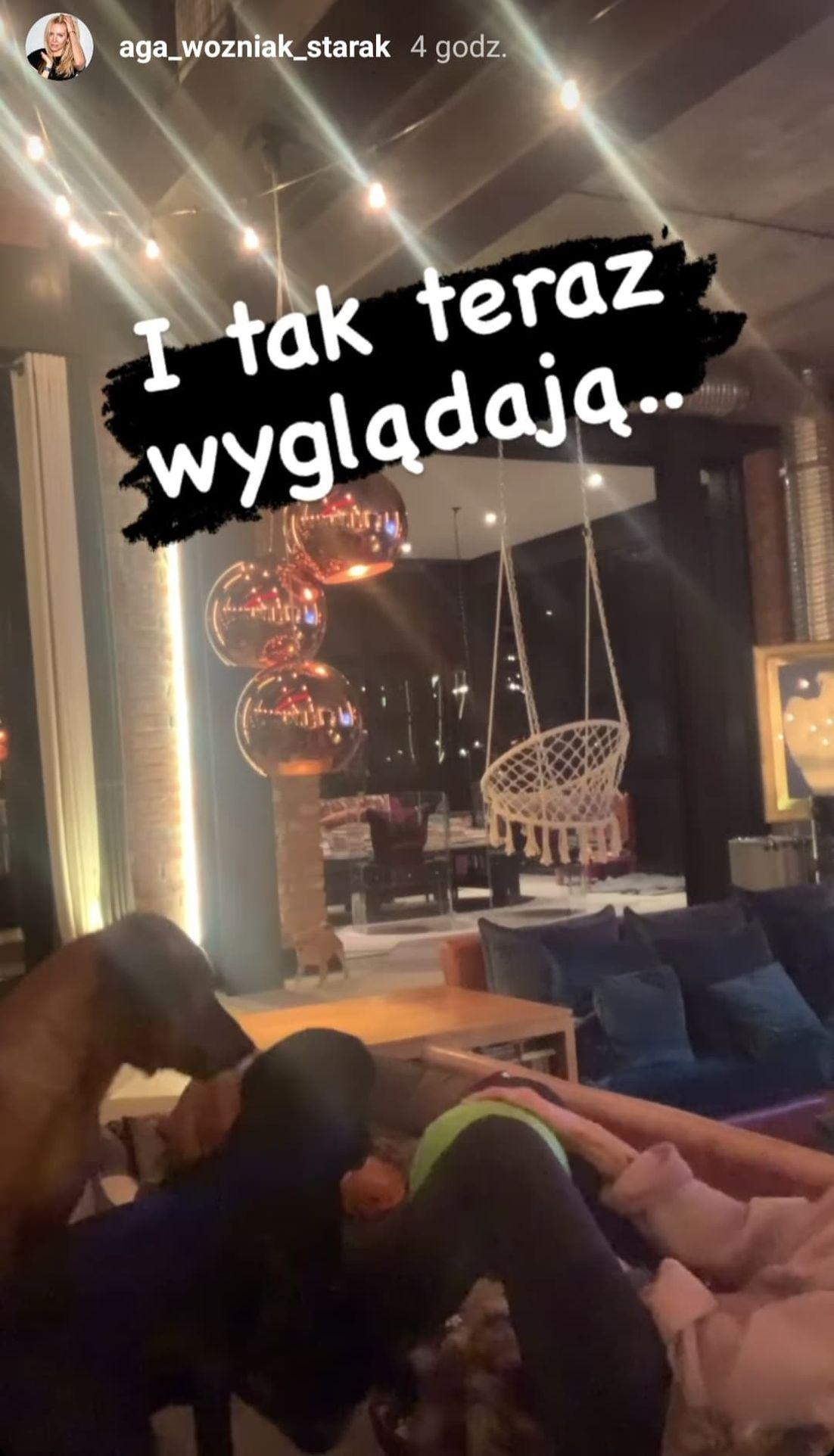 Agnieszka Woźniak-Starak bawi się z psami w salonie