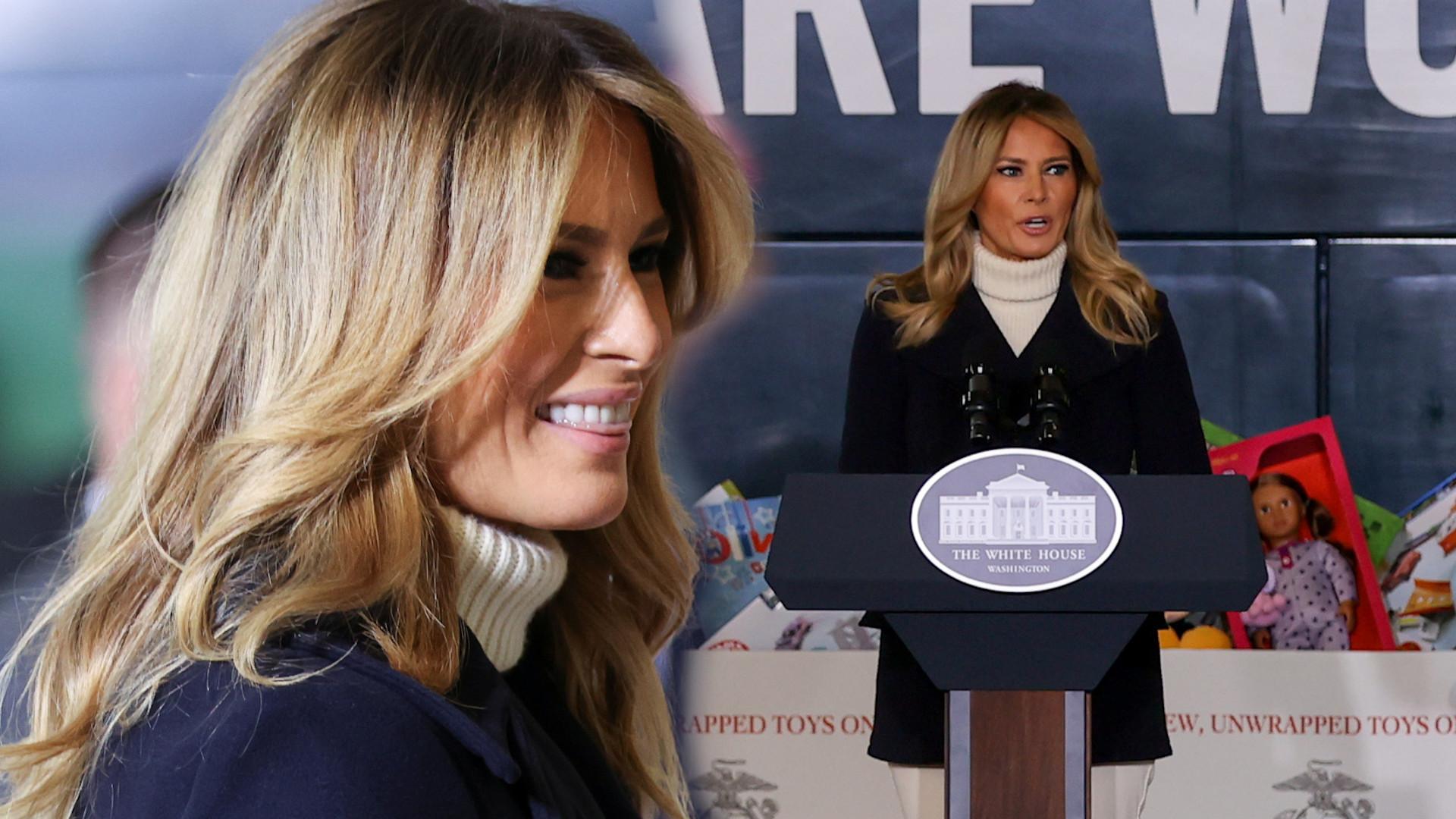 Melania Trump rozdaje dzieciom prezenty. Swoją stylizację podkręciła BUTAMI