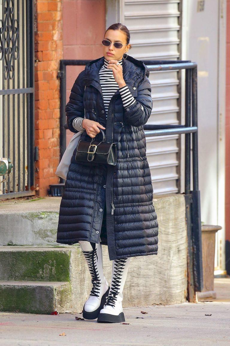 Irina Shayk w pikowanym płaszczu