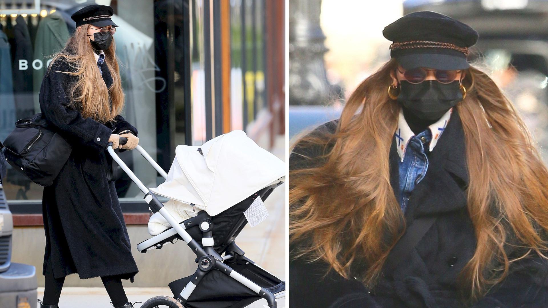 Modna jak zawsze Gigi Hadid pokazuje córce pierwszy śnieg. Wiemy, ile kosztuje jej wózek