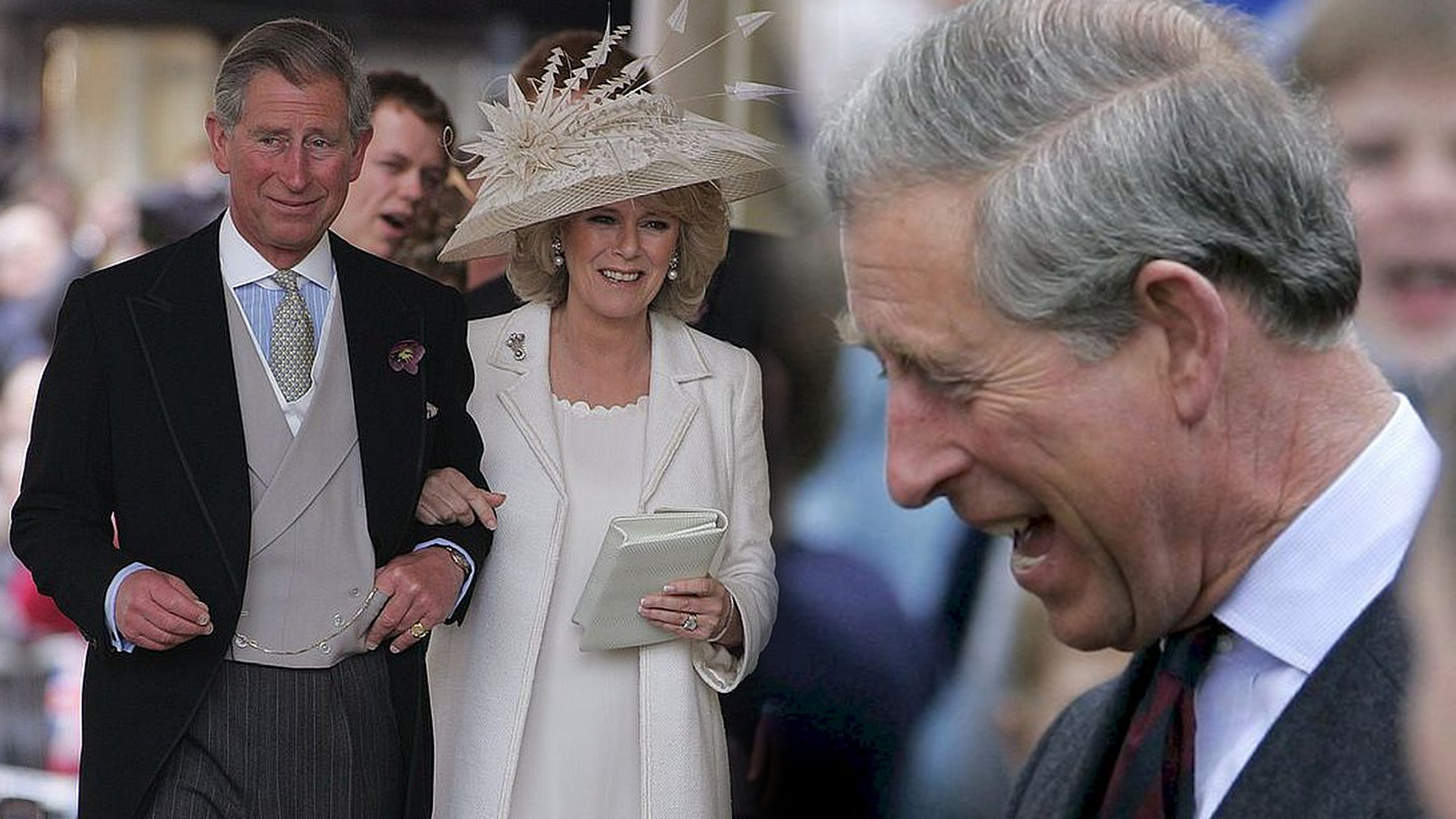 Świąteczna kartka księcia Karola i księżnej Camilli. Karol czule obejmuje małżonkę