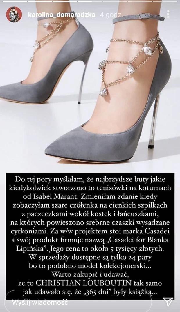 Karolina Domaradzka krytykuje buty Blanki Lipińskiej