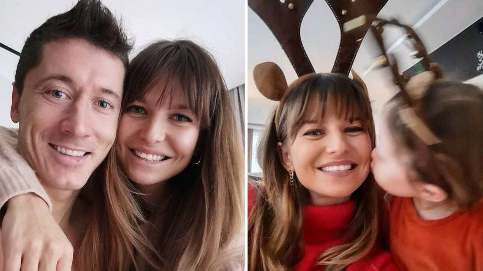 Anna i Robert Lewandowscy CAŁUJĄ się na świątecznym zdjęciu z córkami