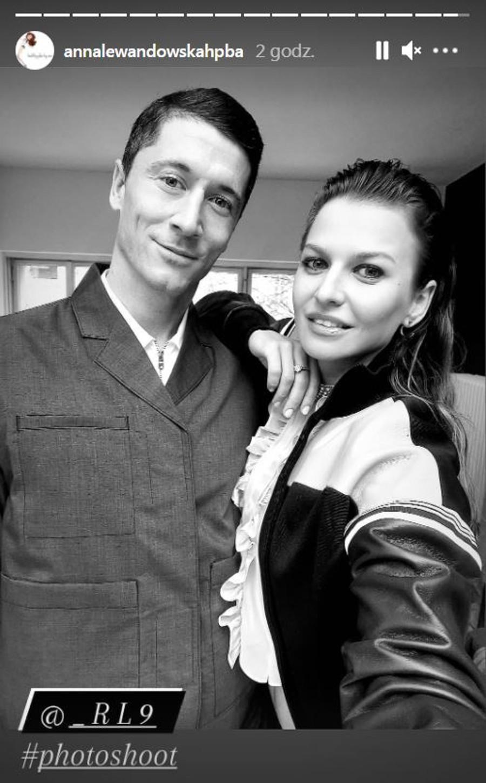 Anna Lewandowska z mężem na sesji zdjęciowej.
