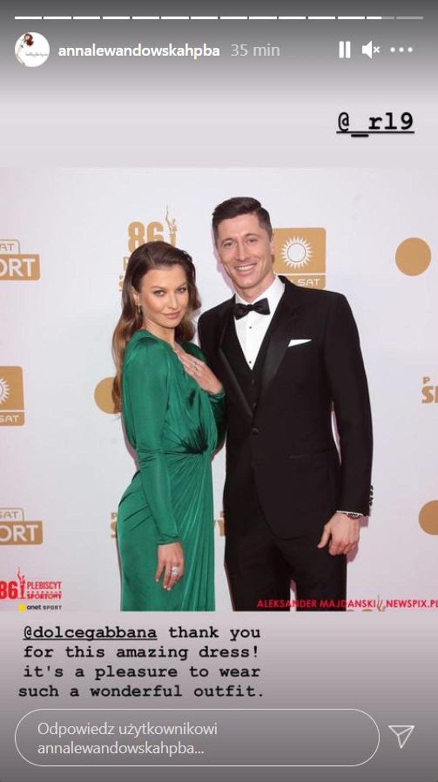 Anna Lewandowska i Robert Lewandowski na gali Mistrzów Sportu.