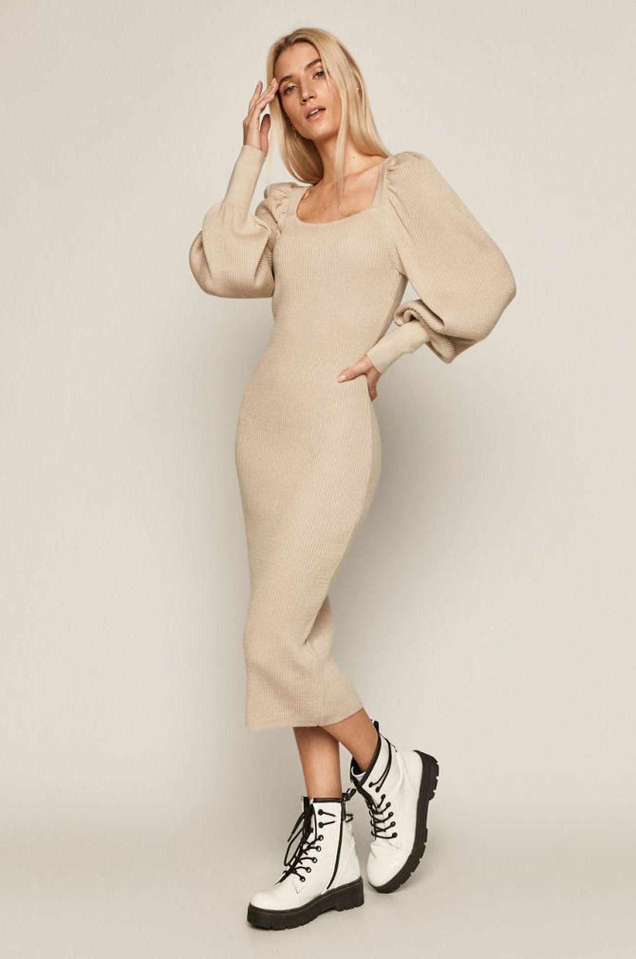 Kremowa sukienka Ubrania z bufkami