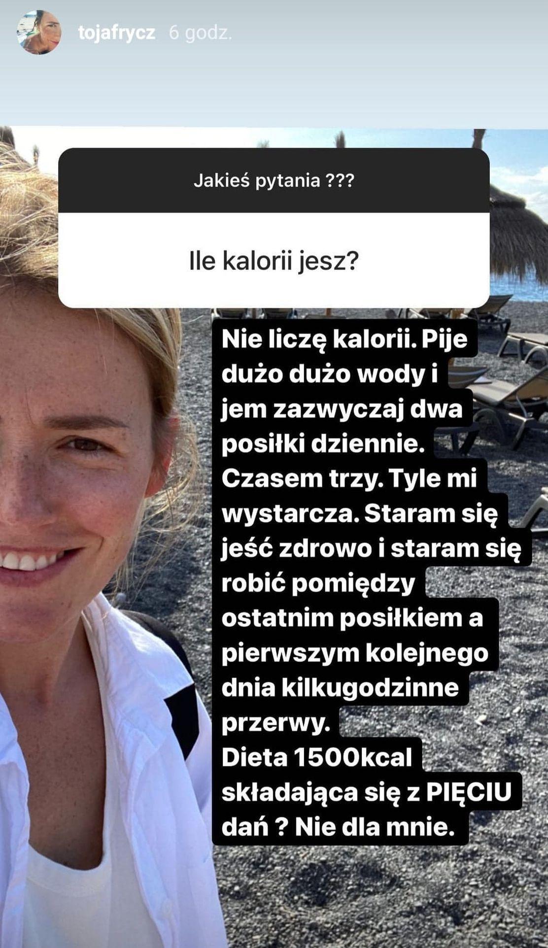Olga Frycz o swojej diecie