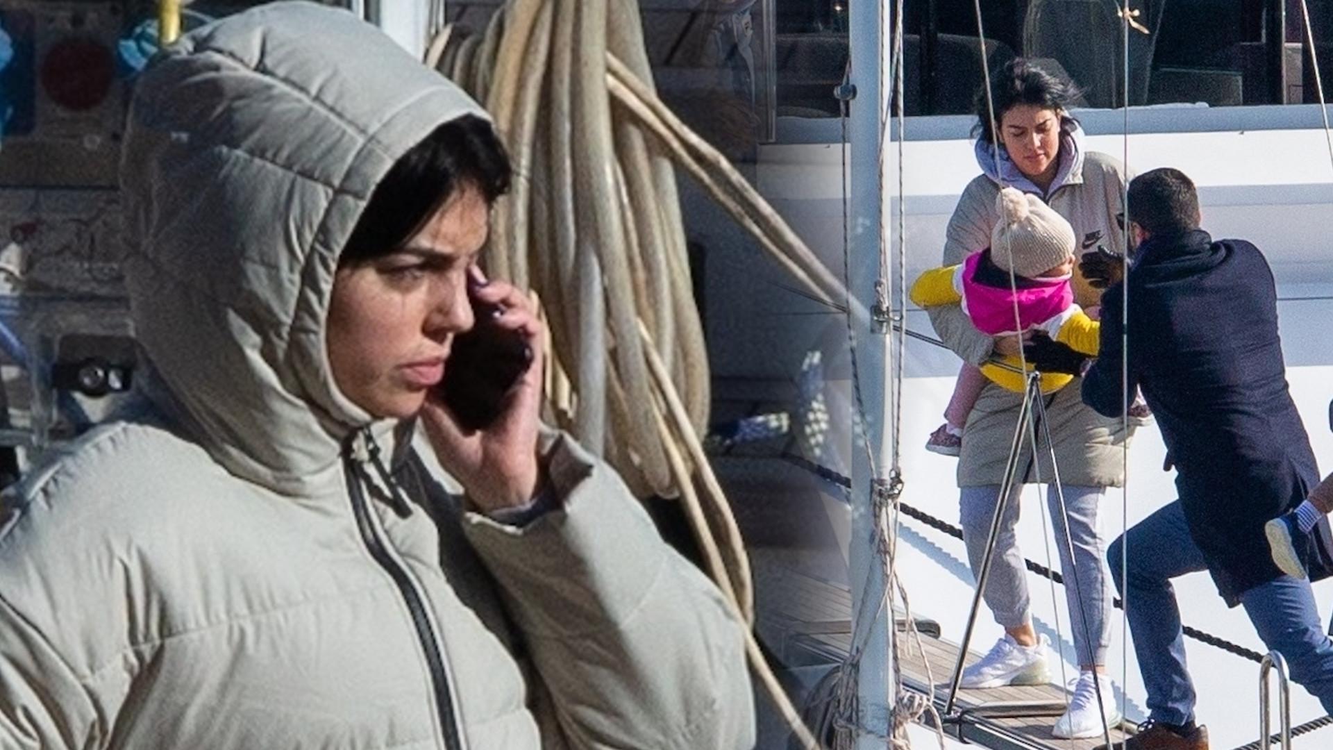 Georgina Rodriguez w wielkiej kurtce. Zabiera dzieci na jacht (ZDJĘCIA)