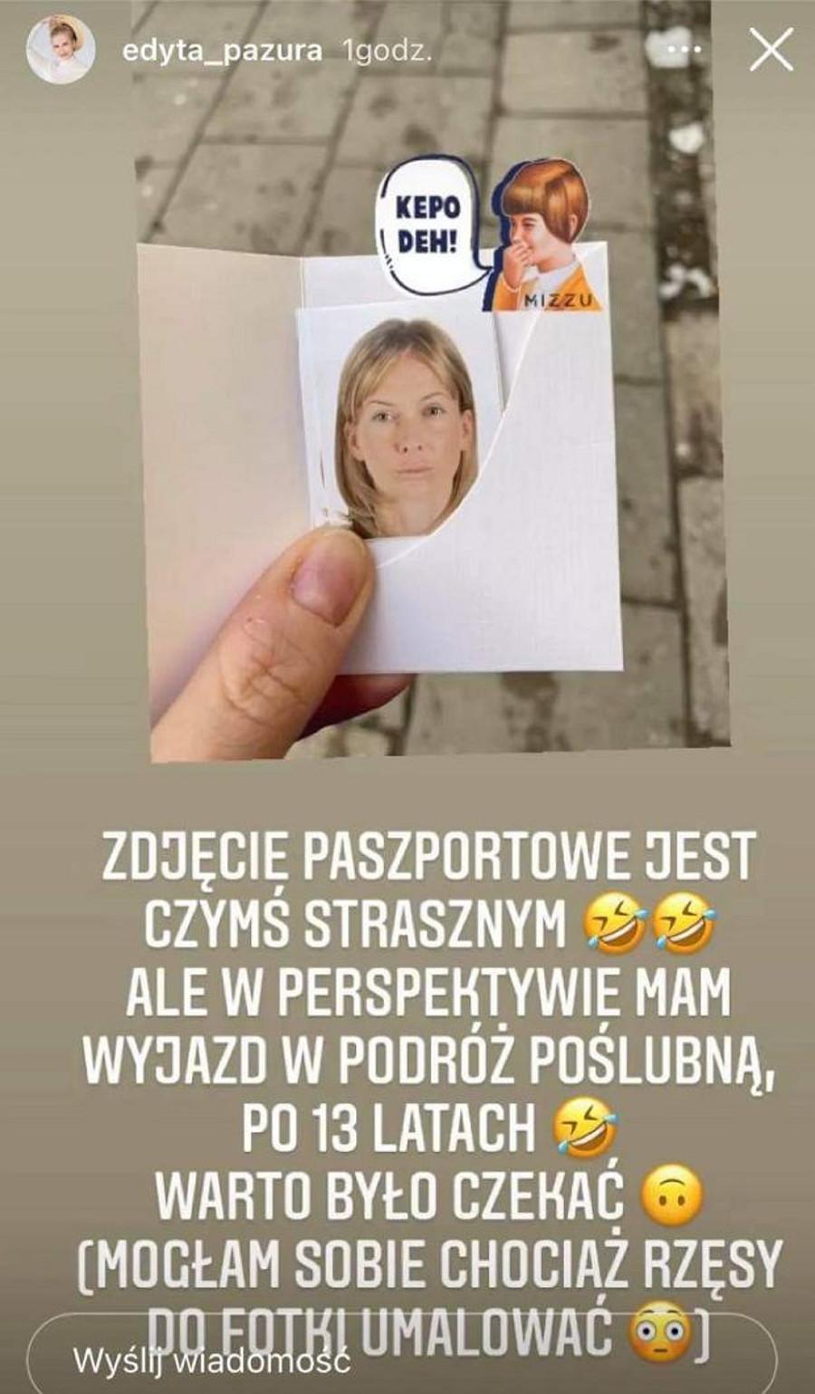 Edyta Pazura pokazała zdjęcie paszportu.