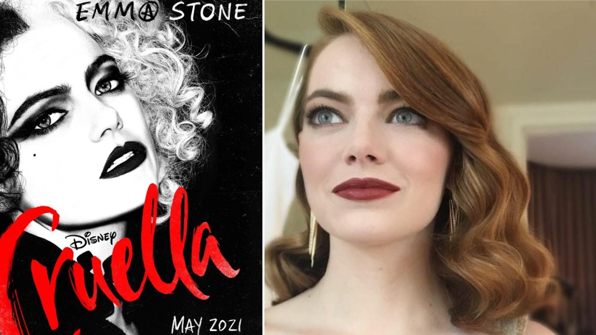 Emma Stone jako Cruella De Mon. Genialna charakteryzacja!