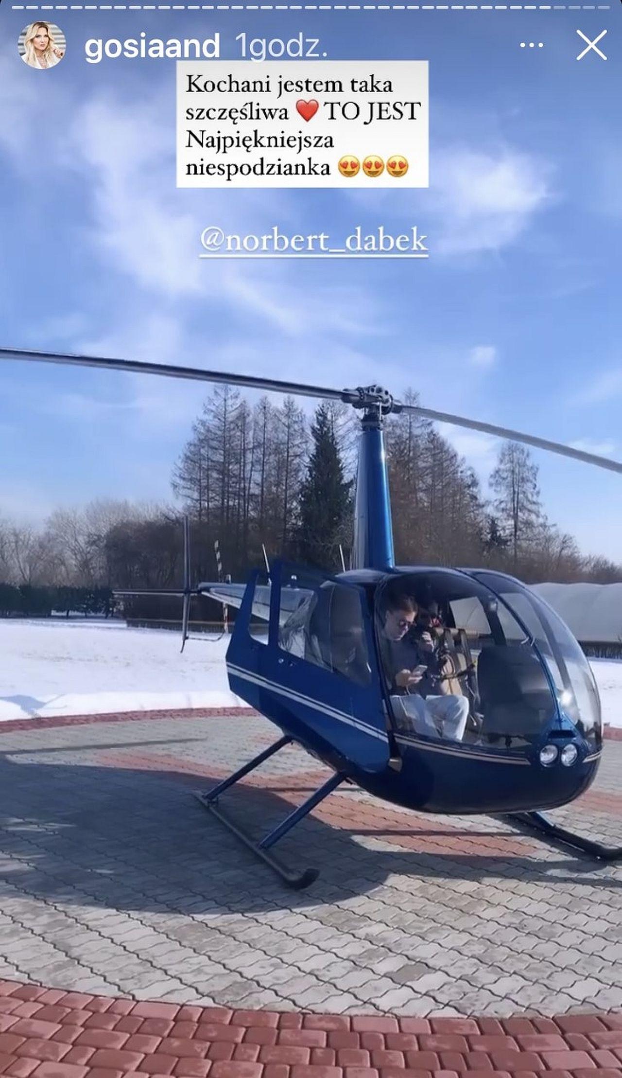 Norbert Dąbek zabrał Gosię Andrzejewicz na przelot helikopterem