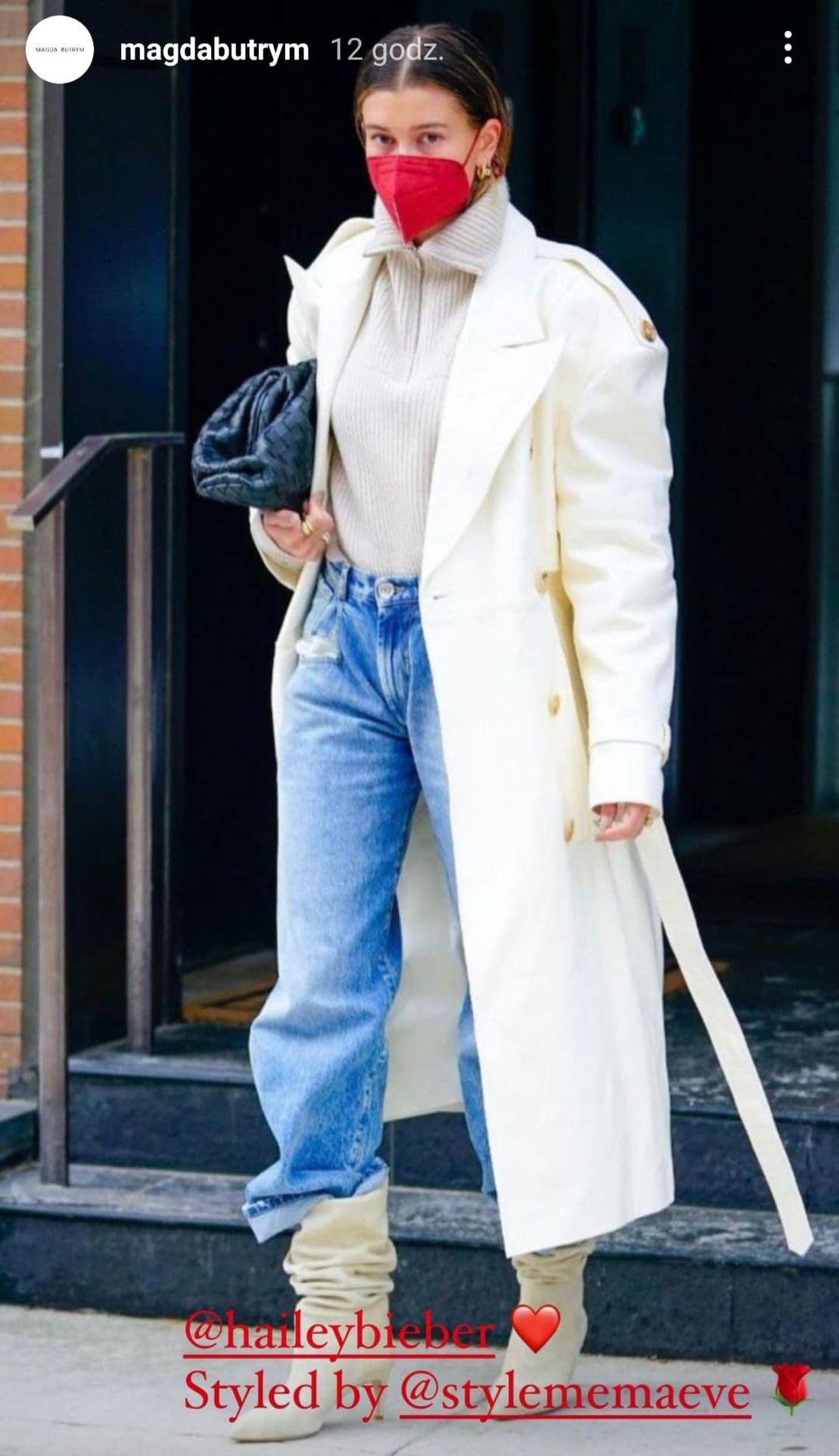 Hailey Bieber w ubraniach Magdy Butrym