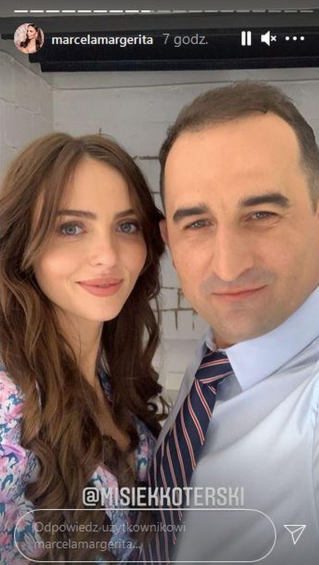 Marcela Leszczak i Misiek Koterski razem na planie