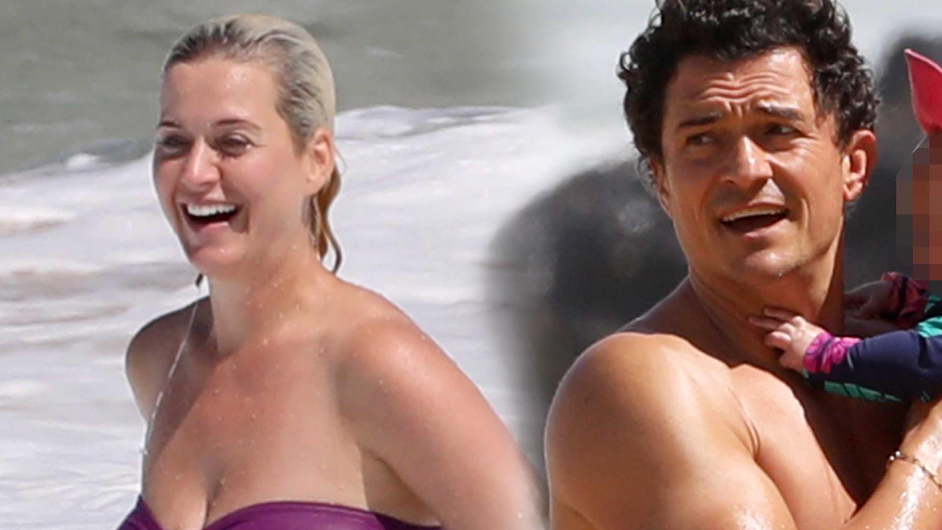 Katy Perry i Orlando Bloom z córeczką na plaży. Jaka urocza! (ZDJĘCIA)