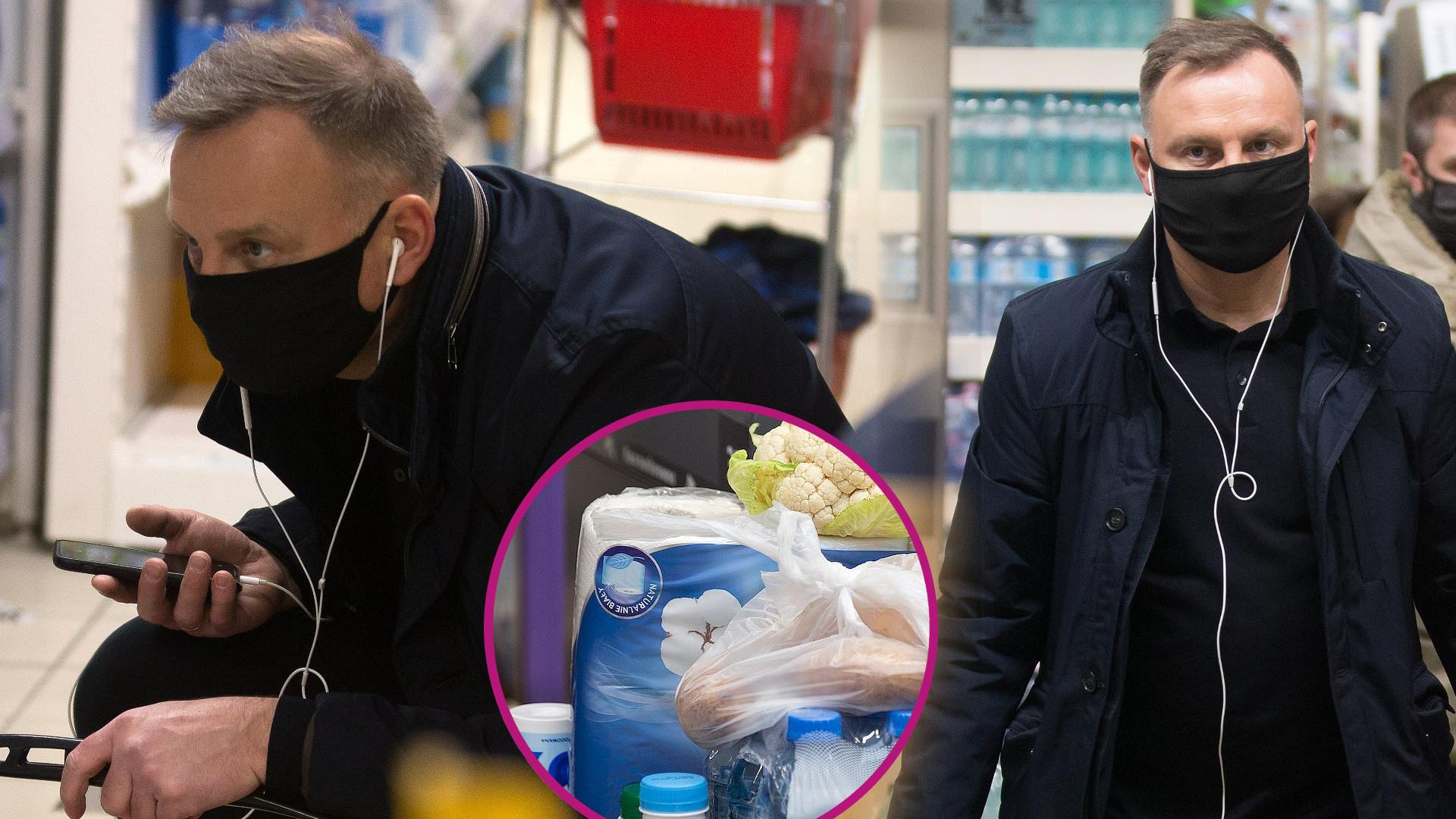 Prezydent Andrzej Duda na zakupach w supermarkecie. Ciekawa zawartość koszyka (ZDJĘCIA)