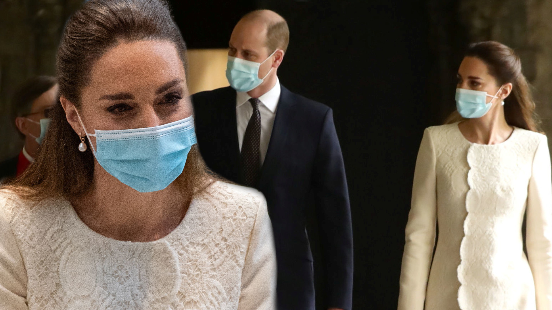 Kate Middleton w centrum szczepień. Jej płaszcz wyglądał jak OBRUS